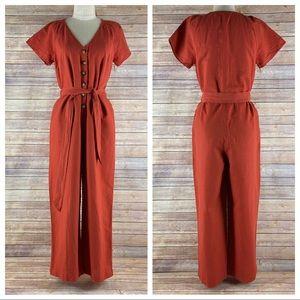 Madewell Pleat Sleeve Linen Cotton Jumpsuit Romper